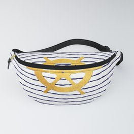 Marine pattern - Navy blue white striped with golden wheel Fanny Pack