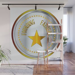 Founding Fathers Gold And Silver Metal Stamp Wall Mural