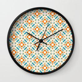 Origami Petals, blue and orange Wall Clock