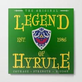 Vintage Video Game Gamer Geeky Chic Legend of Hyrule Shield Crest Metal Print