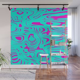 Light blue spreading spots of color on pink. Wall Mural