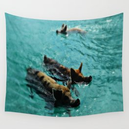 Swimming Pigs In The Exumas, Bahamas, Caribbean  Wall Tapestry