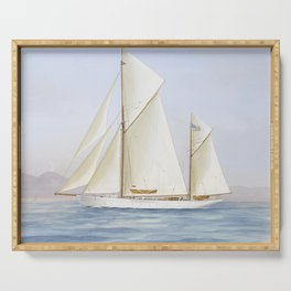 Vintage Racing Ketch Sailboat Illustration (1913) Serving Tray