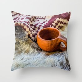A Vintage Ceramic Mug, Skins And A Textile Cloth Throw Pillow