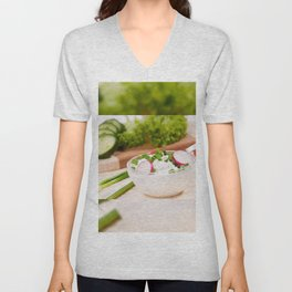 Glass bowl of cottage cheese Unisex V-Neck