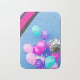 Colorful Balloons on Blue Bath Mat
