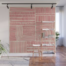 Digital Stitches whole beige + red Wall Mural