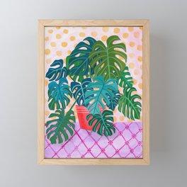 Monstera Houseplant Painting Framed Mini Art Print