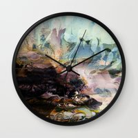 novelty Wall Clocks featuring Morning Seashore Abstract by Moody Muse