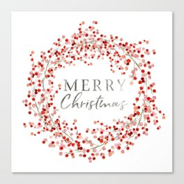 Merry Christmas wreath. Red berry Canvas Print