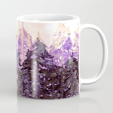 NORTHWEST VIBES Colorful Watercolor Painting Forest Trees Violet Green Modern Nature Art West Coast  Mug