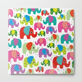 Colorful india elephant kids illustration pattern Metal Print