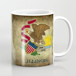 State flag of Illinois with grungy vintage textures Coffee Mug