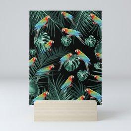 Parrots in the Tropical Jungle Night #2 #tropical #decor #art #society6 Mini Art Print