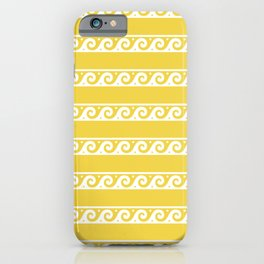 Yellow and white Greek wave ornament pattern iPhone Case