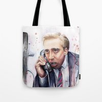 nicolas cage Tote Bags featuring Nicolas Cage by Olechka