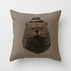 Grizzly Beard Throw Pillow