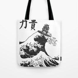 Samurai Surfing The Great Wave off Kanagawa Tote Bag