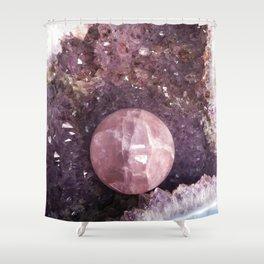 Amethyst and Pink Quartz Gemstone Shower Curtain