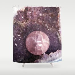 Amethyst and Pink Quartz Gemstone Shower Curtain