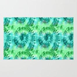 Summer Vibes Tie Dye Spirals in Blue Green Rug