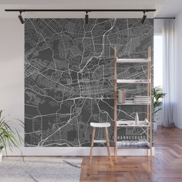 Johannesburg Map, South Africa - Gray Wall Mural