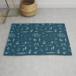 Simple Camping blue Rug