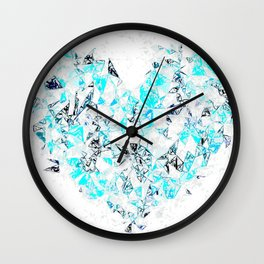 blue heart shape abstract with white abstract background Wall Clock