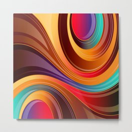 Abstract Colorful Swirls Metal Print