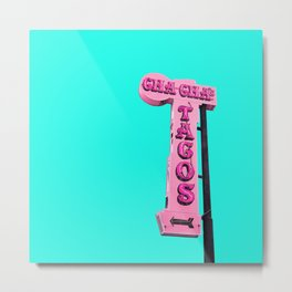 Cha-Cha's Tacos Retro Vintage Pink Sign Metal Print