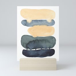 Earth Tones Abstract Painting Fine Art, Yellow, Green and Blue - Modern Contemporary Minimalist style Mini Art Print