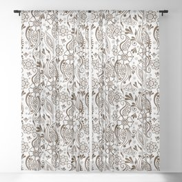 Mehndi or Henna (Brown and White) Sheer Curtain