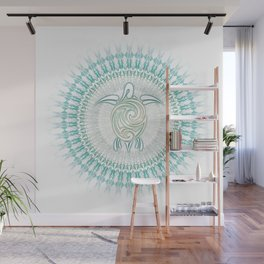 Turquoise Green Turtle And Mandala Wall Mural