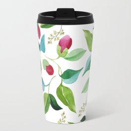 Hand painted red pink green watercolor floral pattern Travel Mug
