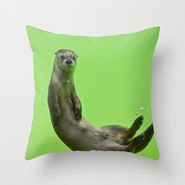 Green Otter Throw Pillow