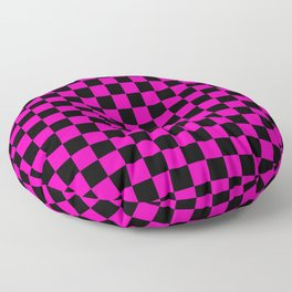 Large Hot Neon Pink and Black Racing Car Check Floor Pillow