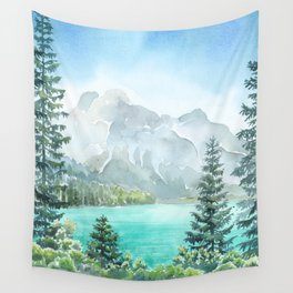 Emerald Lake Watercolor Wall Tapestry