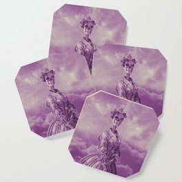 Lady Bonehead VINTAGE PURPLE / Skeleton portrait Coaster