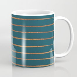 Teal & Rose Gold Line Pattern Coffee Mug