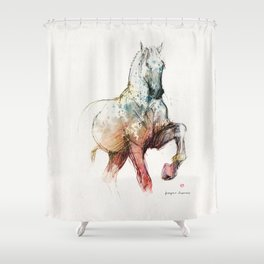 Horse (Siwy / Silver / color version) Shower Curtain