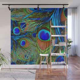 BLUE-GREEN PEACOCK FEATHERS ART Wall Mural