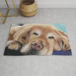 Sweet Sleeping Golden Retriever Puppy by annmariescreations Rug