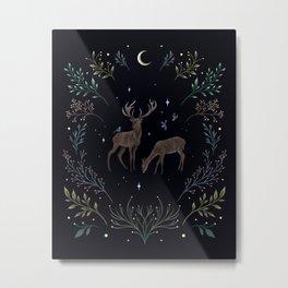 Deers in the Moonlight Metal Print