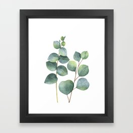 Watercolor eucalyptus branches Framed Art Print