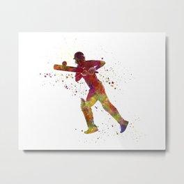 Cricket player batsman silhouette 06 Metal Print