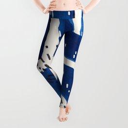 Fun Mid Century Modern Abstract Minimalist Vintage Navy Blue Brush Strokes Minimal Shapes Leggings