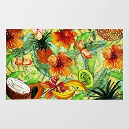 My tropical Summer Hibiscus and Fruits Garden- Jungle Pattern Rug