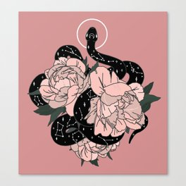 Celestial Snake In Pink By Moon Goddess Market Canvas Print