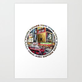 Times Square New York City (badge emblem on white) Art Print