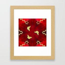 gold butterflies and flowers on red kaleidoscope Framed Art Print